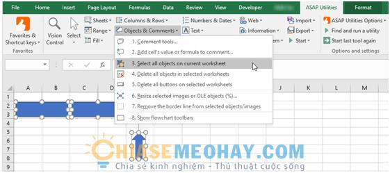 Dùng ASAP Utilities Add-in để giảm dung lượng Excel