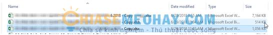 Dung lượng trong file Excel đã được giảm