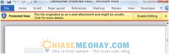 File Word Đang Để Chế Độ Protected View