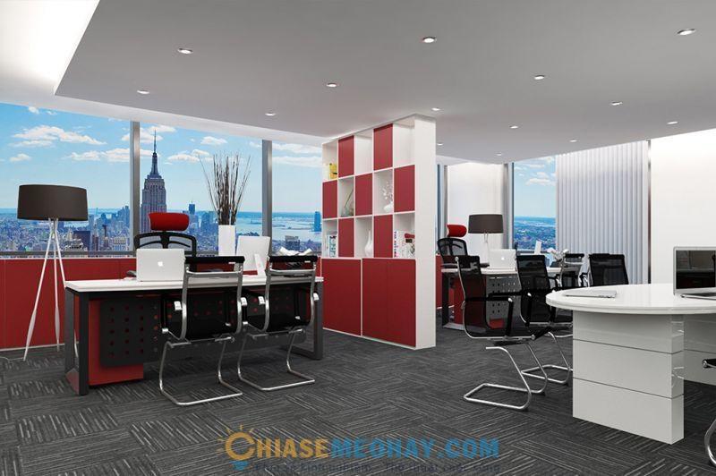 Văn phòng màu đỏ đen kết hợp là biểu tượng sự phát triển thịnh vượng của doanh nghiệp