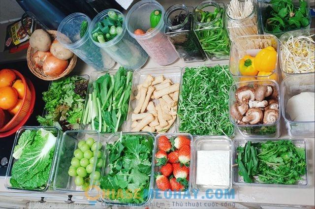 Sắp xếp các loại rau củ trong tủ lạnh